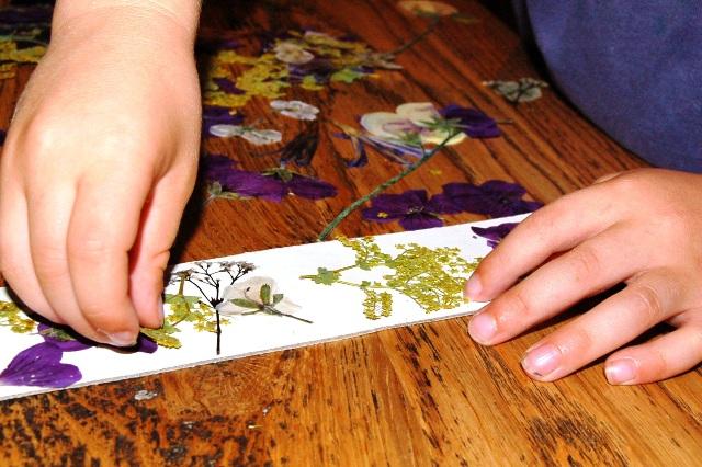 Making pressed flower bookmarks