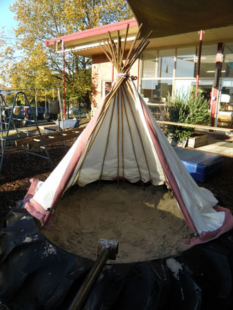 Tractor tyre sandpit and tee pee